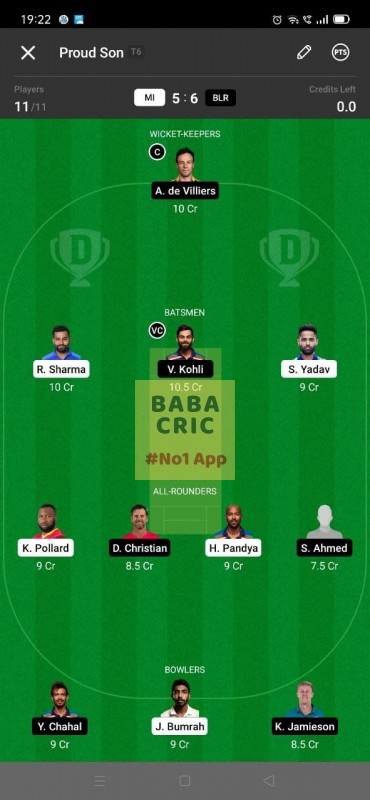MI vs RCB - 1st T20 (IPL 2021) Dream11 Grand League Team 5