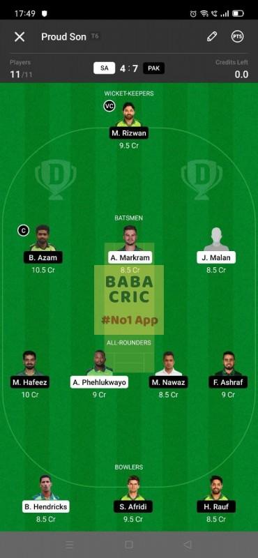 SA vs PAK - 1st T20I Dream11 Grand League Team 1