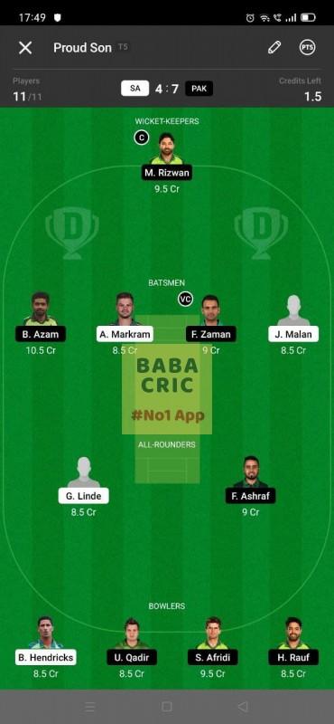 SA vs PAK - 1st T20I Dream11 Grand League Team 3