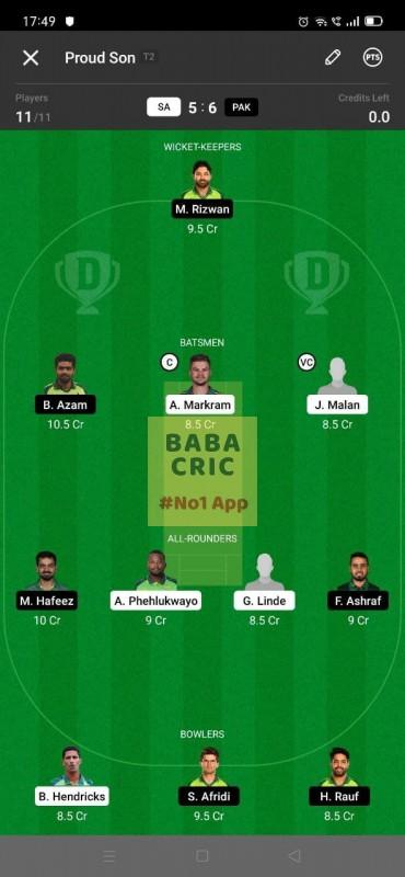 SA vs PAK - 1st T20I Dream11 Grand League Team 4