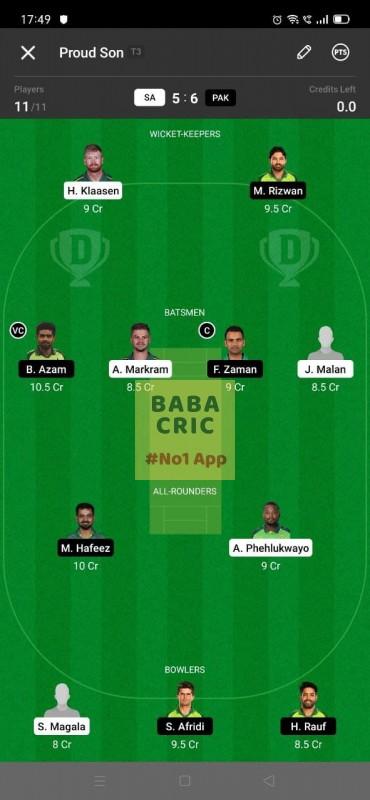 SA vs PAK - 1st T20I Dream11 Grand League Team 5