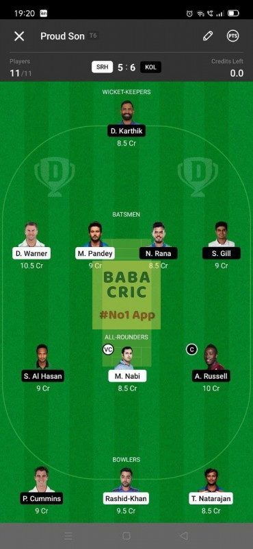 SRH vs KOL - 3rd T20 Dream11 Grand League Team 2