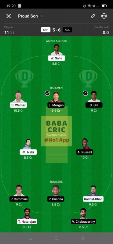 SRH vs KOL - 3rd T20 Dream11 Grand League Team 3
