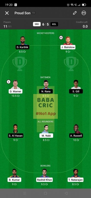 SRH vs KOL - 3rd T20 Dream11 Grand League Team 4