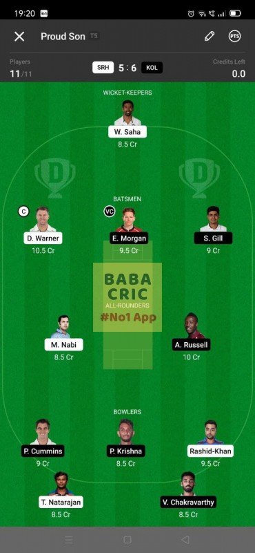 SRH vs KOL - 3rd T20 Dream11 Grand League Team 5