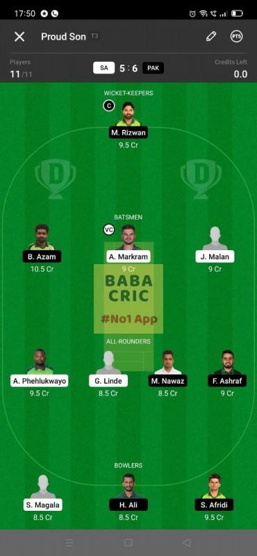 SA vs PAK 2nd T20I Dream11 Grand League Team 1