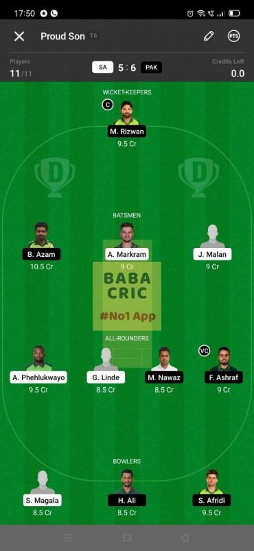 SA vs PAK 2nd T20I Dream11 Grand League Team 5