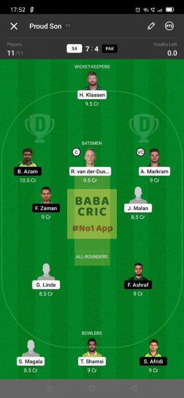 SA vs PAK 3rd T20I Dream11 Grand League Team 1