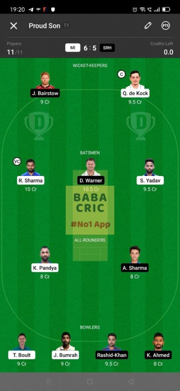 MI vs SRH (IPL 2021) Dream11 Grand League Team 2
