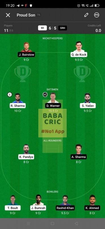 MI vs SRH (IPL 2021) Dream11 Grand League Team 4
