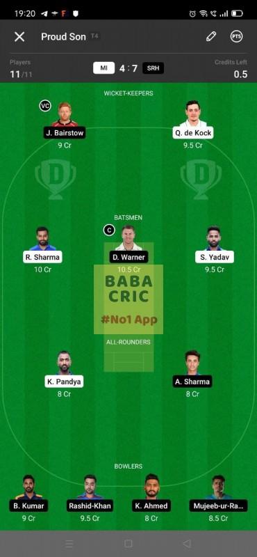 MI vs SRH (IPL 2021) Dream11 Grand League Team 5
