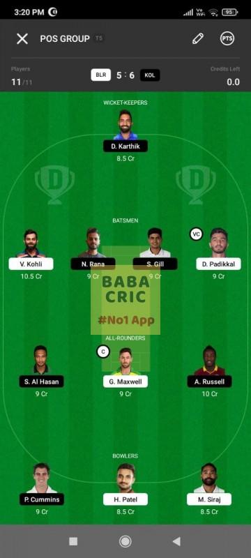 BLR vs KOL (IPL 2021) Dream11 Grand League Team 5
