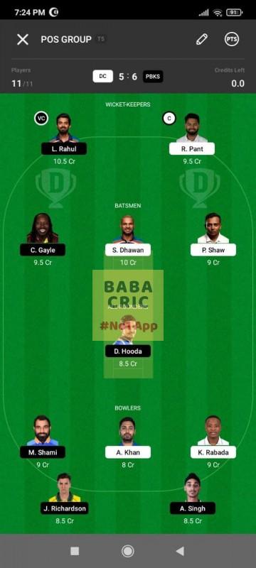 DC vs PBKS (IPL2021) Dream11 Grand League Team 1