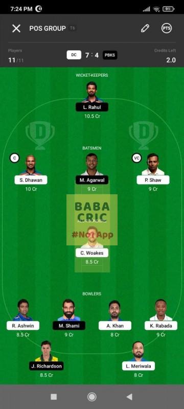DC vs PBKS (IPL2021) Dream11 Grand League Team 2