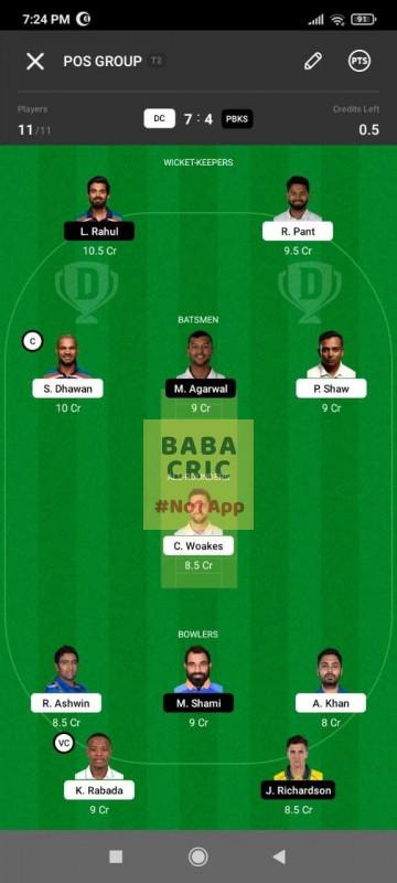 DC vs PBKS (IPL2021) Dream11 Grand League Team 5