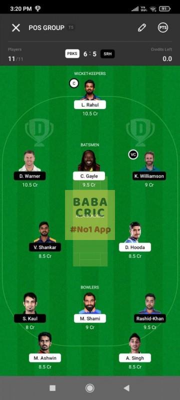 PBKS vs SRH (IPL 2021) Dream11 Grand League Team 1