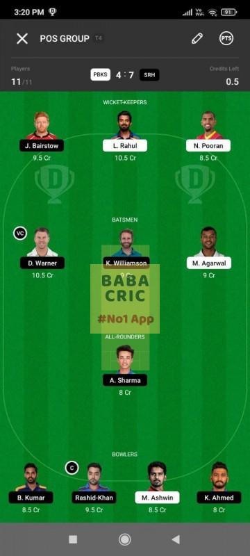 PBKS vs SRH (IPL 2021) Dream11 Grand League Team 2