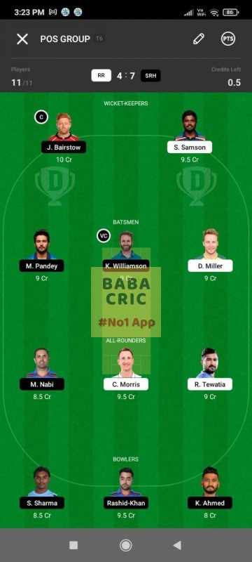 RR vs SRH (IPL 2021) Dream11 Grand League Team 1