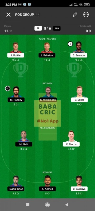 RR vs SRH (IPL 2021) Dream11 Grand League Team 2