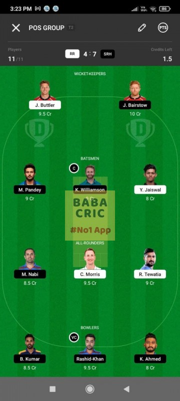 RR vs SRH (IPL 2021) Dream11 Grand League Team 5