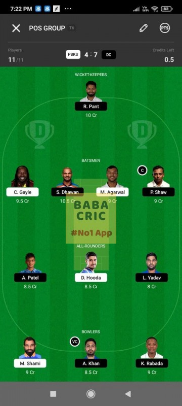 PBKS vs DC (IPL 2021) Dream11 Grand League Team 1