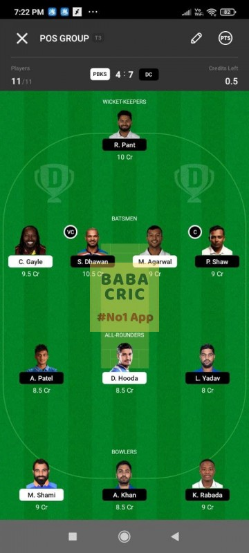 PBKS vs DC (IPL 2021) Dream11 Grand League Team 4