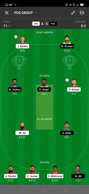 ENG vs PAK 3rd T20I Dream11 Grand League Team 3