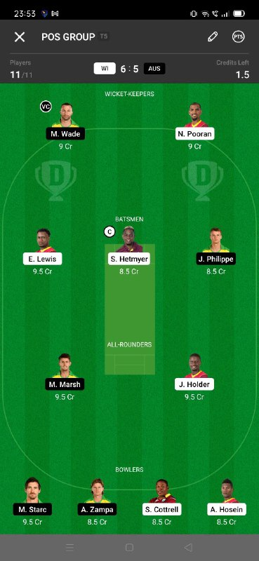 WI vs AUS 1st ODI Dream11 Grand League Team 3
