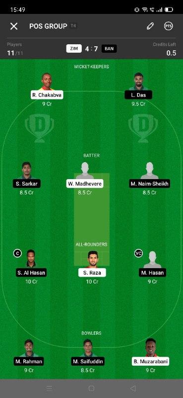 ZIM vs BAN 5th T20I Dream11 Grand League Team 1