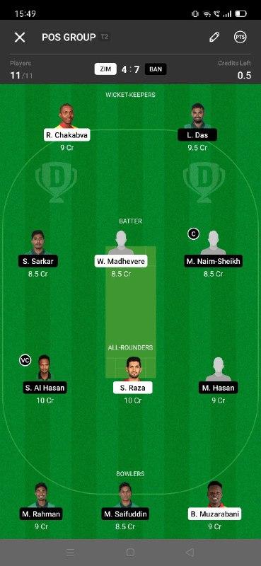 ZIM vs BAN 5th T20I Dream11 Grand League Team 2