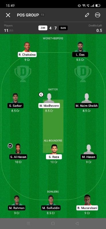 ZIM vs BAN 5th T20I Dream11 Grand League Team 3