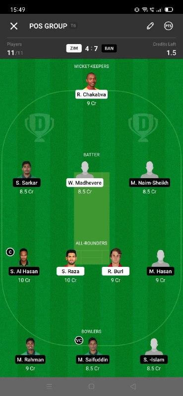 ZIM vs BAN 5th T20I Dream11 Grand League Team 4