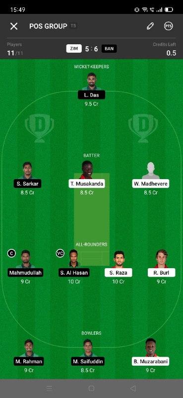 ZIM vs BAN 5th T20I Dream11 Grand League Team 5