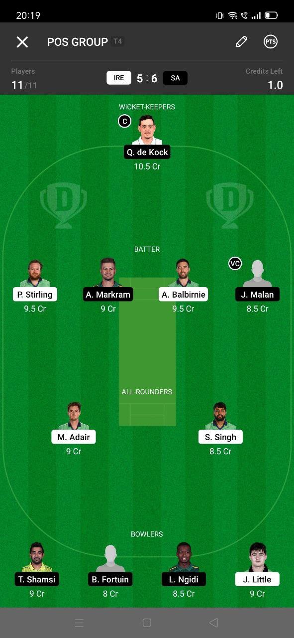 IRE vs SA 5th T20I Dream11 Grand League Team 3