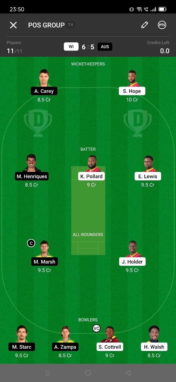 WI vs AUS 7th ODI Dream11 Grand League Team 1