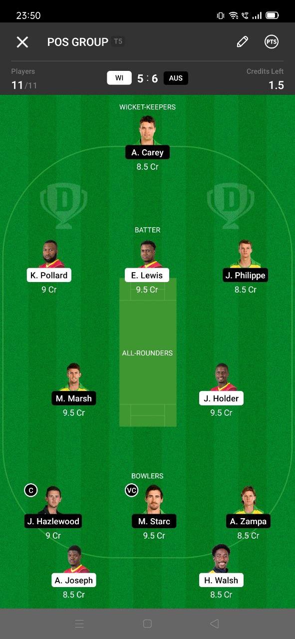 WI vs AUS 7th ODI Dream11 Grand League Team 3