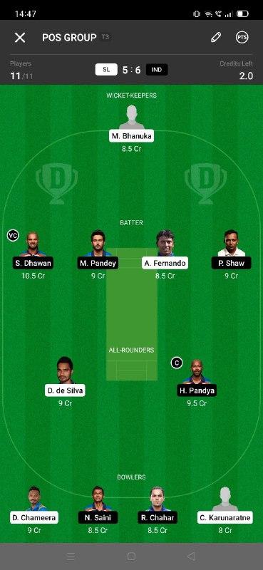 SL vs IND 3rd ODI Dream11 Grand League Team 1