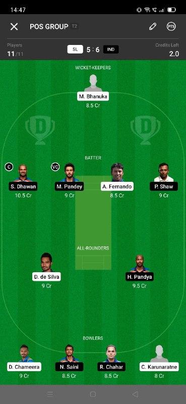 SL vs IND 3rd ODI Dream11 Grand League Team 2
