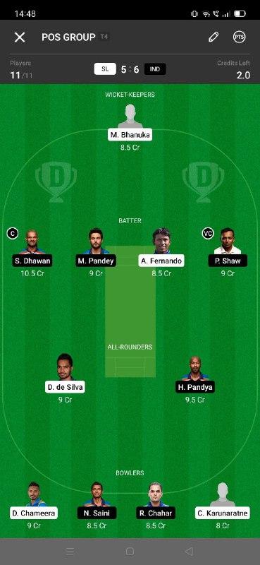 SL vs IND 3rd ODI Dream11 Grand League Team 3