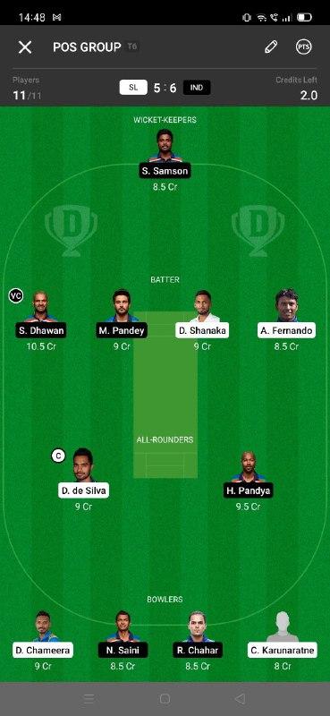 SL vs IND 3rd ODI Dream11 Grand League Team 4