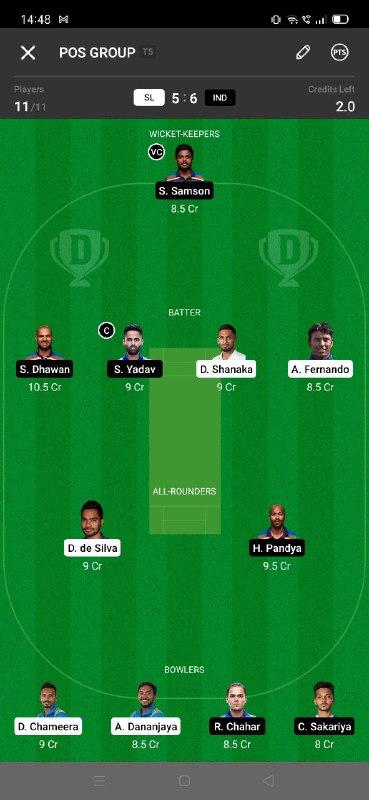 SL vs IND 3rd ODI Dream11 Grand League Team 5