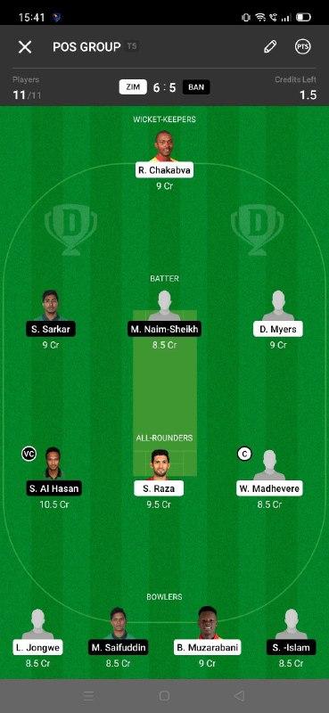 ZIM vs BAN 6th T20I Dream11 Grand League Team 3