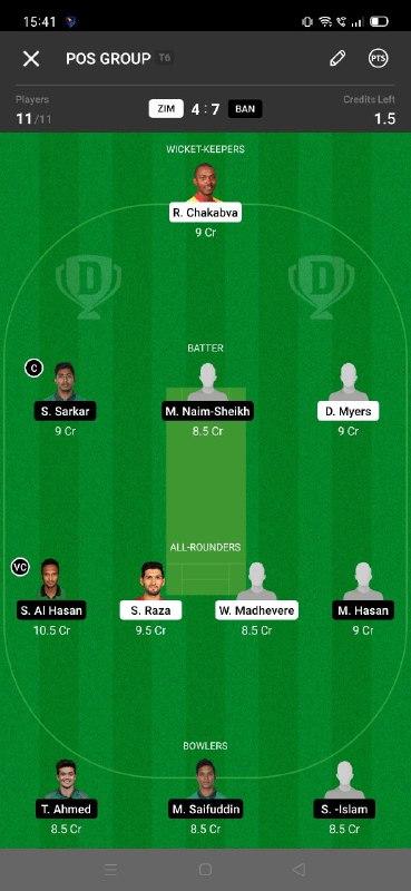 ZIM vs BAN 6th T20I Dream11 Grand League Team 5