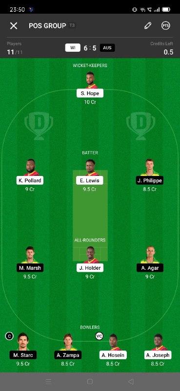 WI vs AUS 3rd ODI Dream11 Grand League Team 2