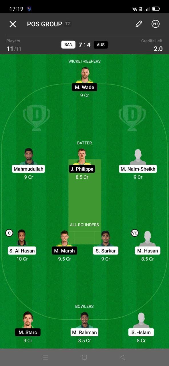 BAN vs AUS 2nd T20I Dream11 Grand League Team 3