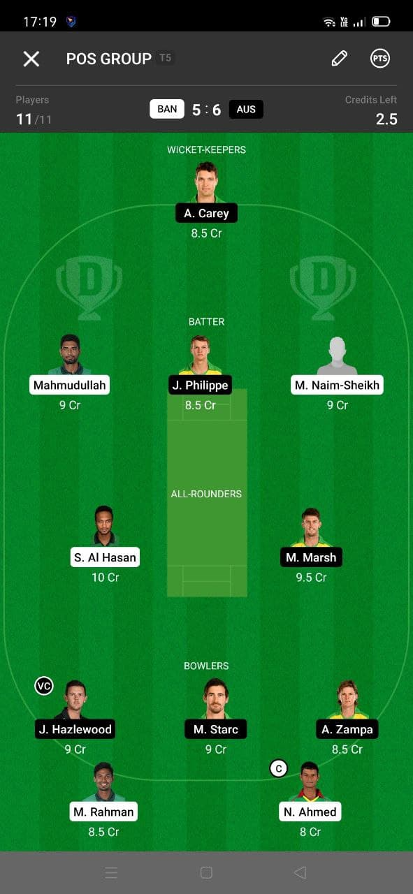 BAN vs AUS 2nd T20I Dream11 Grand League Team 5