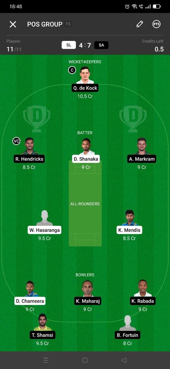 SL vs SA 3rd T20I Dream11 Grand League Team 3
