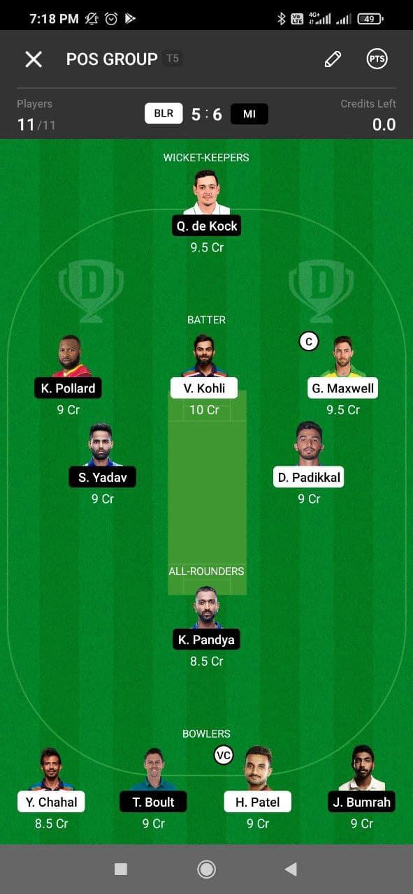 RCB vs MI 39th Match Dream11 Grand League Team 2