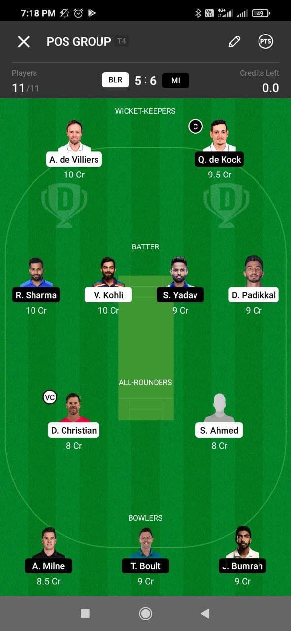 RCB vs MI 39th Match Dream11 Grand League Team 3