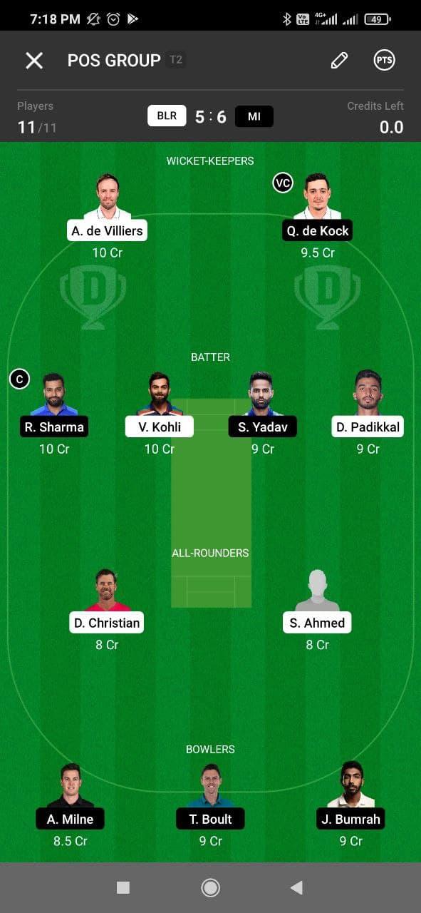 RCB vs MI 39th Match Dream11 Grand League Team 5